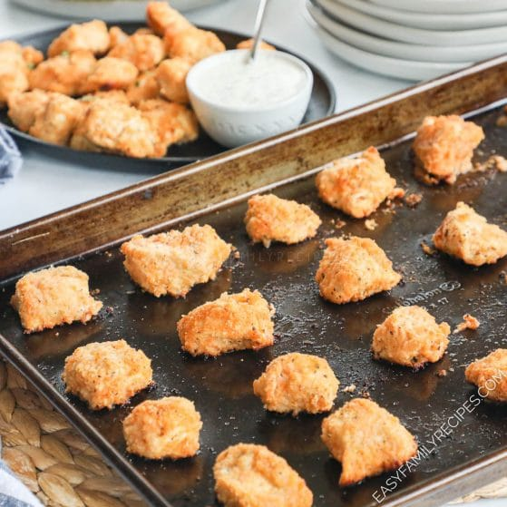Baked Buffalo Chicken Nuggets on a baking sheet