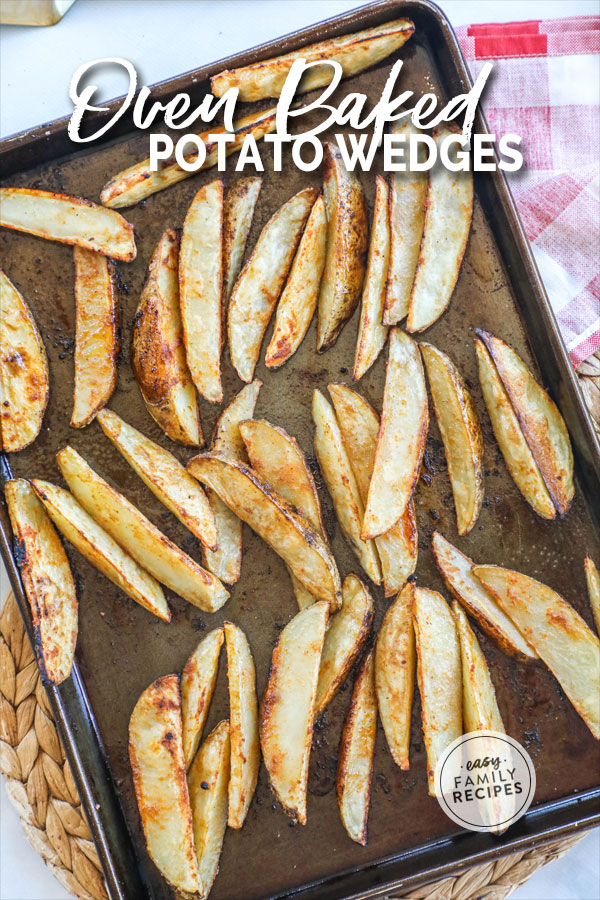 Potato Wedges on a baking sheet after being cooked in the oven
