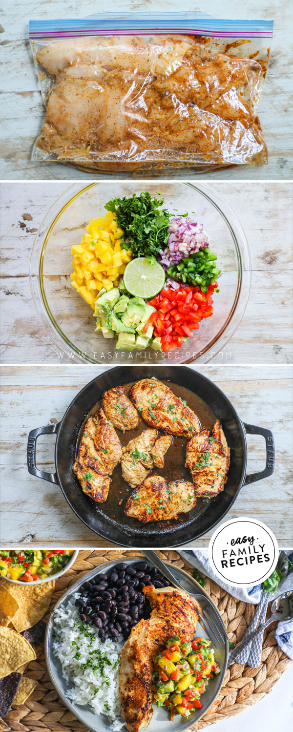 Process photos for how to make chicken with mango salsa 1. Season and marinate chicken breast 2. mix mango salsa 3. Cook chicken 4. Plate chicken with mango salsa