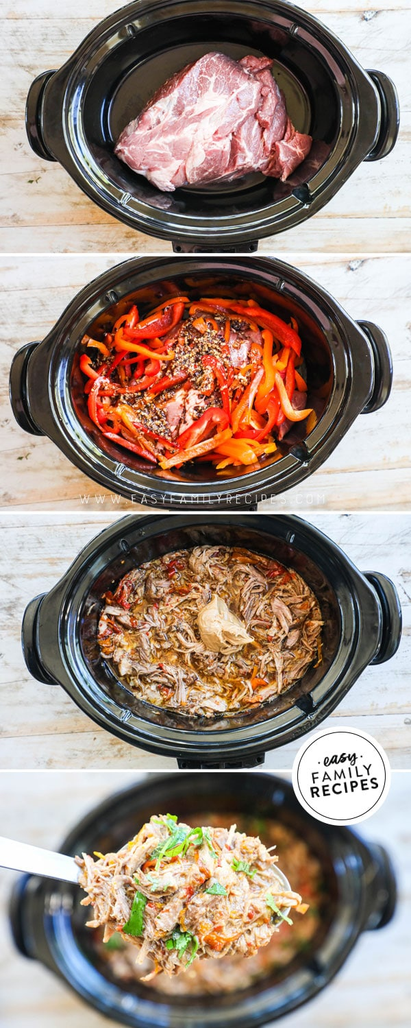 Process photos for how to make Thai Pork in the crock pot 1. Place pork shoulder in slow cooker 2. Cover with peppers and sauces, 3. cook and shred 4. stir in peanut butter and garnish with cilantro