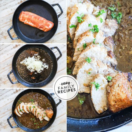 Step by step for making pork tenderloin 1. Brown pork tenderloin. 2. Bake pork in oven 3. Make garlic sauce with drippings 4. Combine the pork with the garlic sauce.