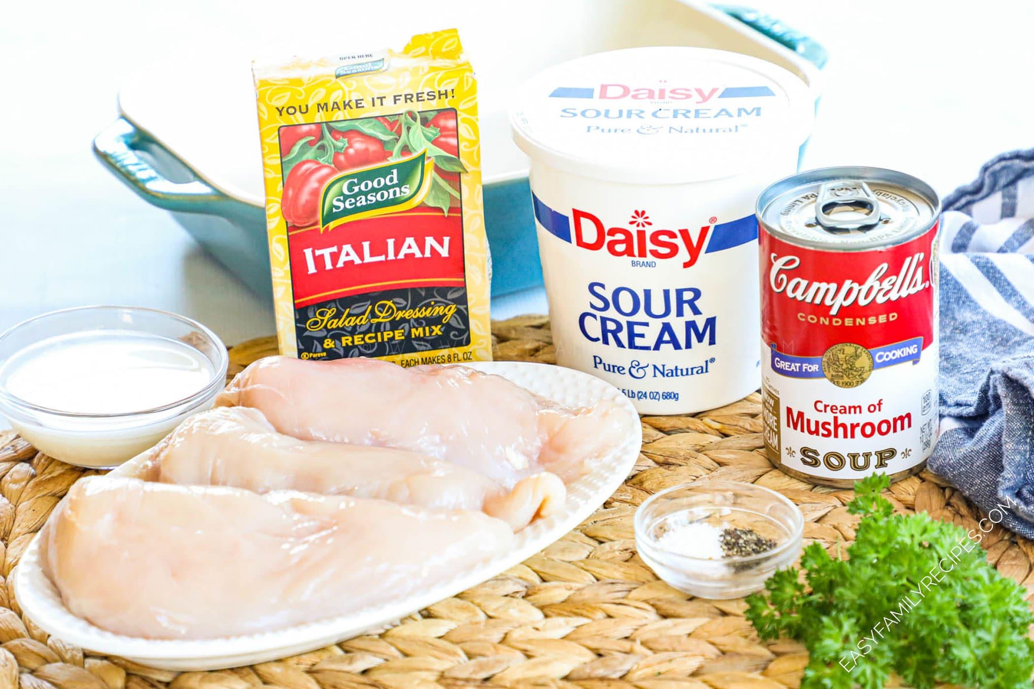 Ingredients for Cream of Mushroom Chicken - Chicken breast, sour cream, Italian dressing mix, campbells cream of mushroom soup, milk