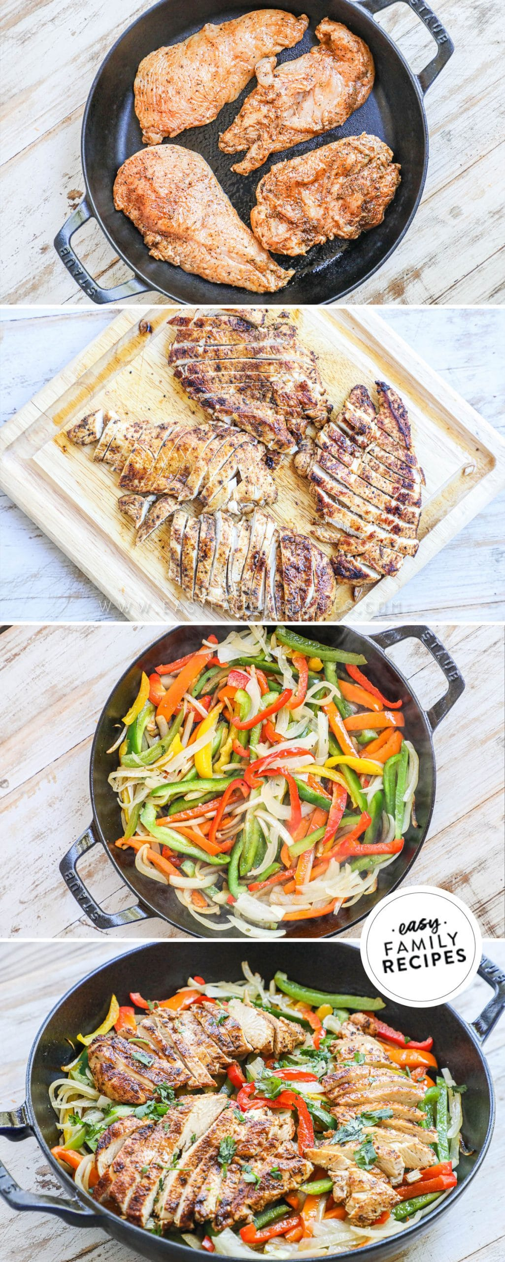 Process photos for how to make chicken fajitas in a skillet 1. Cook marinated chicken in cast iron skillet 2. Chop chicken 3. Cook onions and peppers 4. combine onions and peppers with cooked chicken