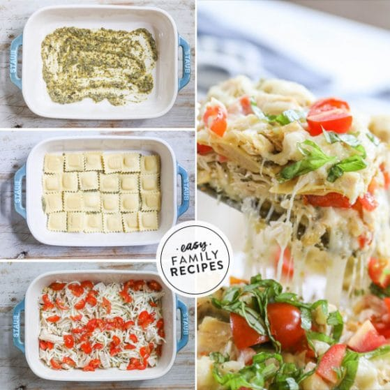 Step by step for making Chicken RAvioli Bake How to make Chicken Ravioli Bake - 1. Spread pesto on the bottom of a baking dish. 2. Layer refrigerated ravioli in the dish. 3. Cover with chicken, pesto, cheese, and tomatoes. repeat. 4. Bake until the casserole is hot throughout