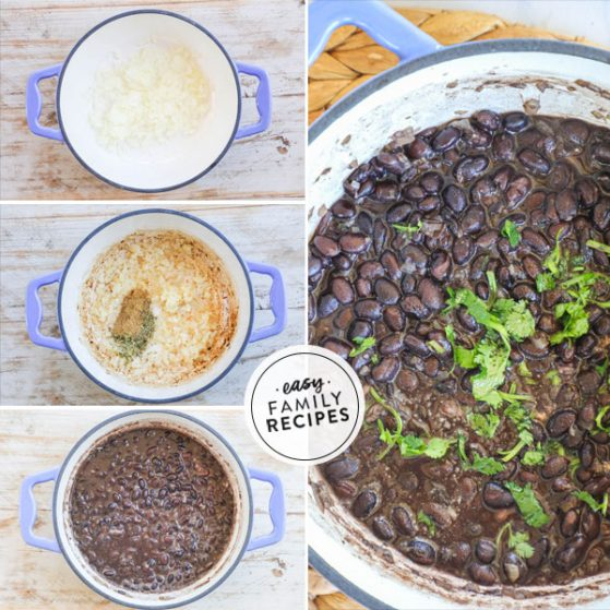step by step for seasoning canned black beans and cooking them