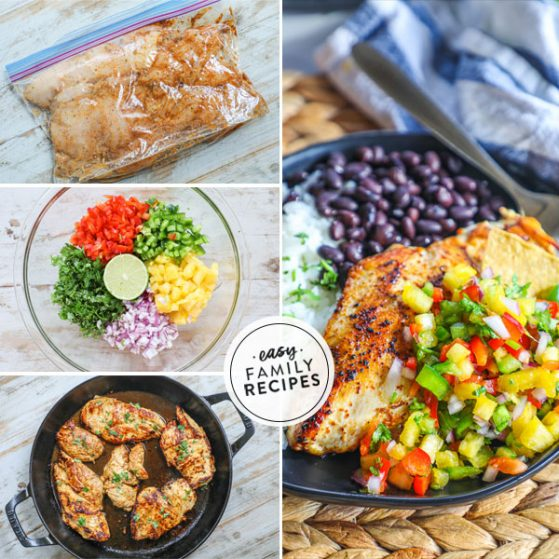 Step by step for making pineapple salsa Chicken- 1. Marinate the chicken breast. 2. Make pineapple salsa. 3. Cook chicken breast in skillet. 4. Serve chicken with a scoop of pineapple salsa on top.