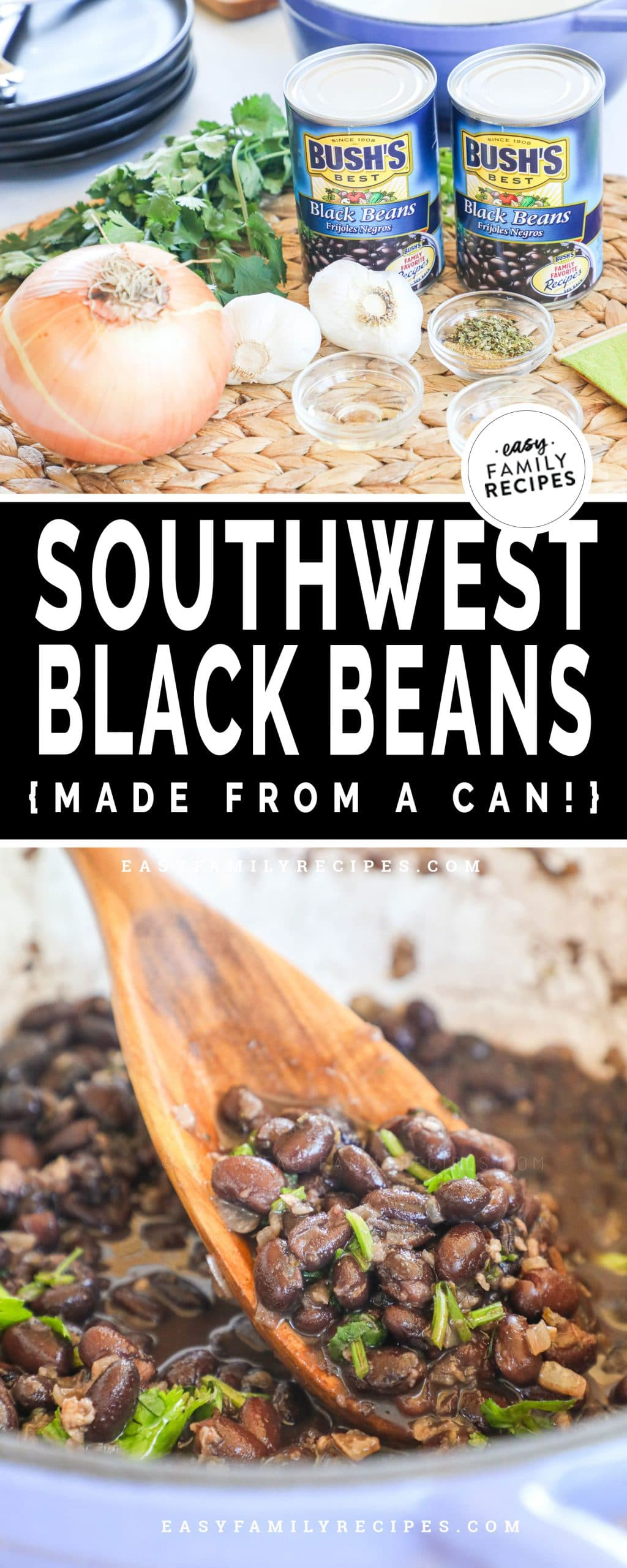 top: ingredients for making canned black beans bottom: canned black beans cooked in pot