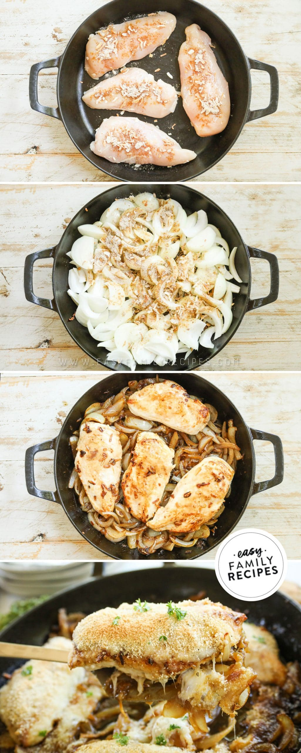 Process photos for how to make French Onion Chicken- 1. Season Chicken Breasts and brown in skillet. 2. Slice onions and caramelize. Add chicken back and top with cheese. 4. Top with bread crumbs and bake.