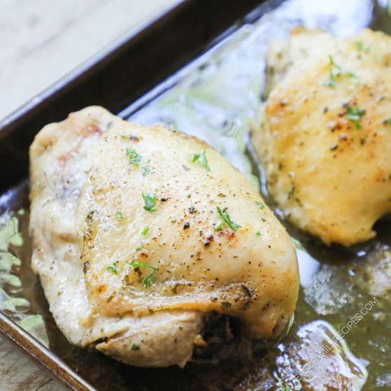 Crispy Baked Chicken thigh on a sheet pan