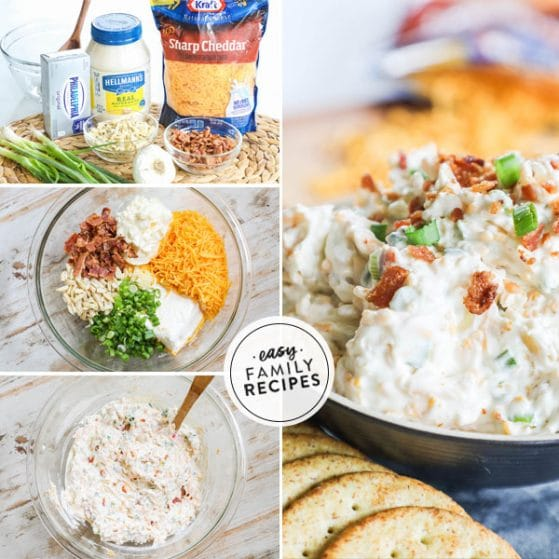 Step by step for making 5 minute Million Dollar Dip- 1. Collect ingredients. 2. Combine all ingredients in a large bowl. 3. Mix to combine. 4. Transfer to serving dish and garnish with bacon and green onions.