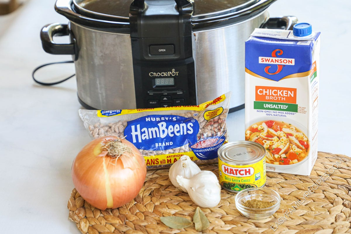 Ingredients for Crockpot Refried beans including pino beans, onion, green chiles, garlic, spices, chicken broth