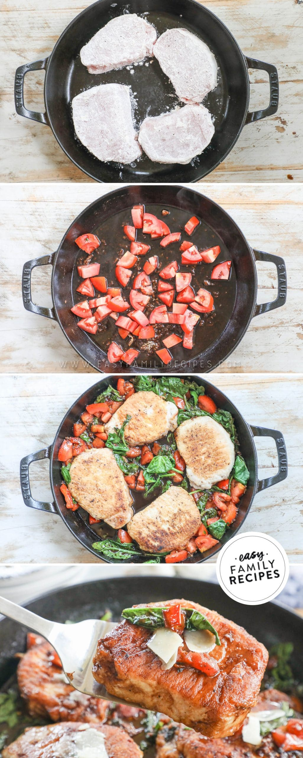 Process photos for How to make Tuscan Pork Chops 1. Dredge Pork Chops in flour and pan fry. 2. Add tomatoes and balsamic vinegar to skillet and cook down. 3. add back in pork chops and spinach to finish cooking. 4. Serve garnished with parmesan cheese.