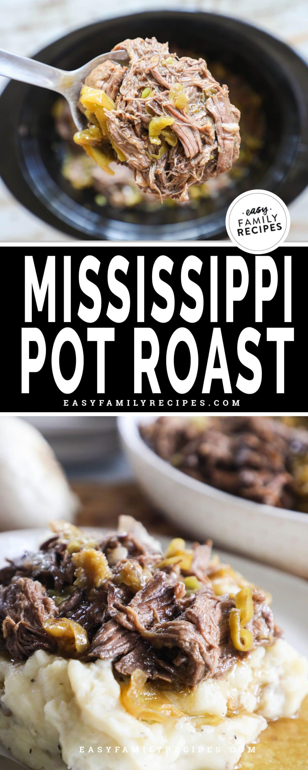 Lifting a spoonful of Mississippi Pot Roast from Slow Cooker