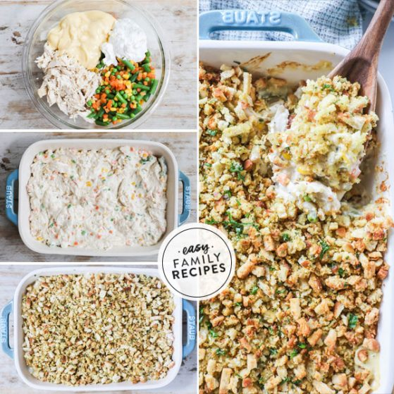 Step by step for making Chicken and Stuffing Casserole with Vegetables1. Combine chicken, cream of chicken soup, sour cream, vegetables and broth. 2. Transfer to a casserole dish. 3. Mix stovetop stuffing with butter and spread over top of casserole. 4. Bake until edges are bubbly.