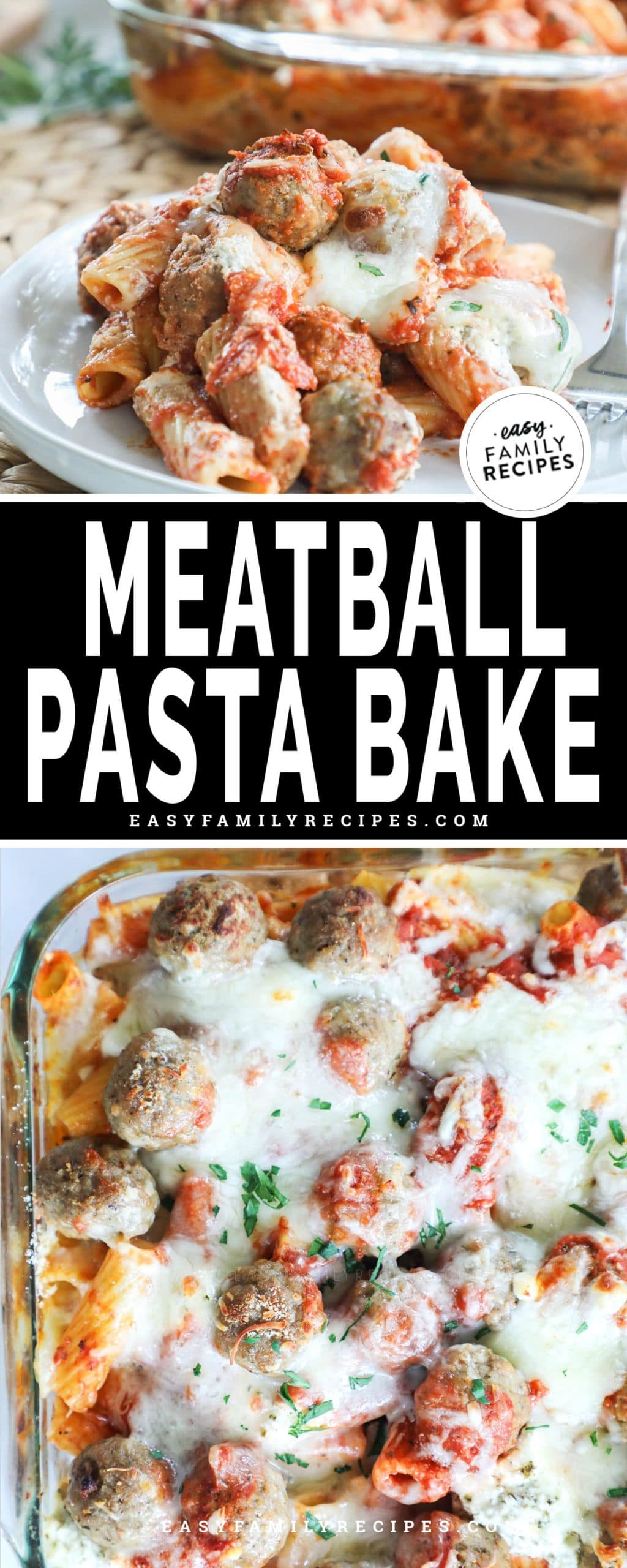 Meatball Pasta Bake served on a plate for aa family friendly dinner