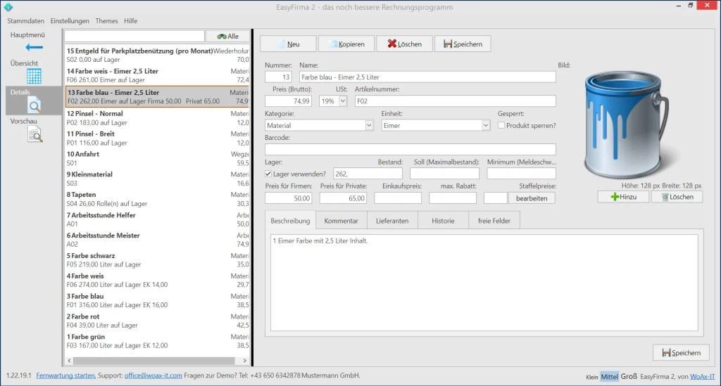 EasyFirma2-Produktverwaltung
