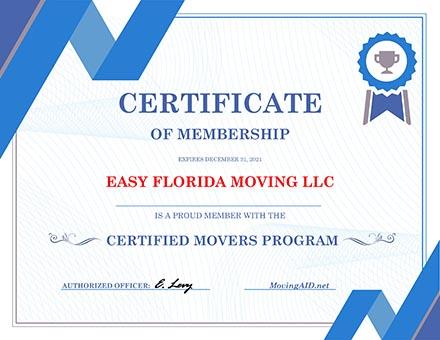 2021 - Certificate of Membership - EASY FLORIDA MOVING LLC