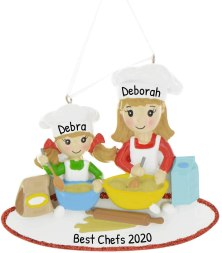 Personalized Mom & Me Baking Christmas Tree Ornament