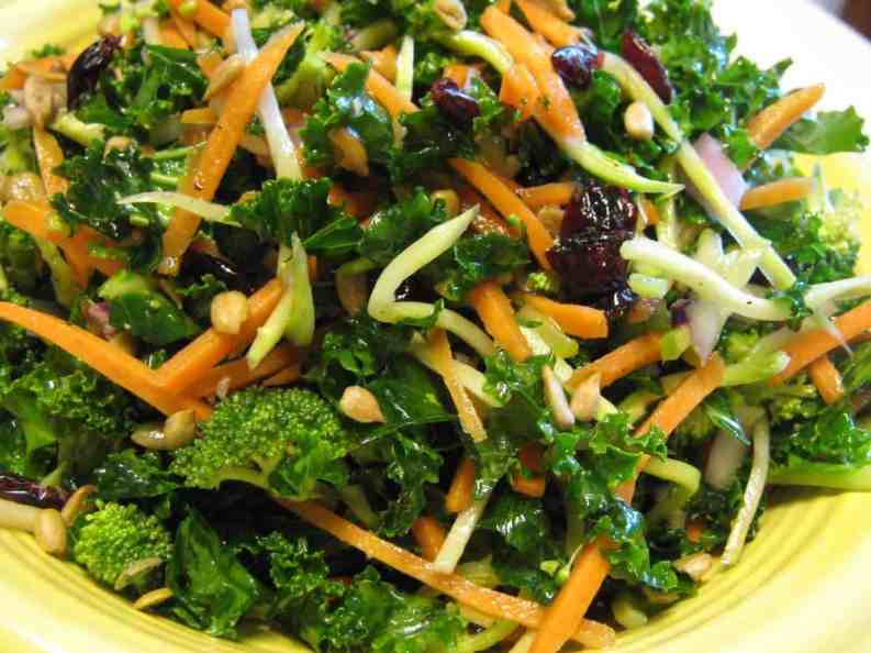 Kale powers up with broccoli, goji berries and sunflower seeds.