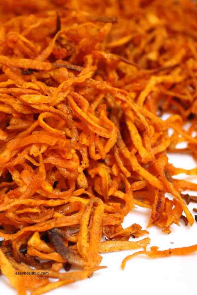 sweet potato matchsticks on plate