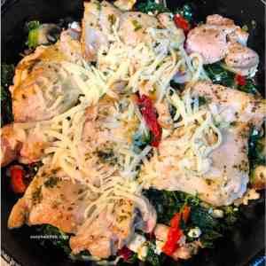 Greek chicken with spinach mixture