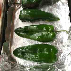 cut and oiled poblanos on foil pan ready for roasting