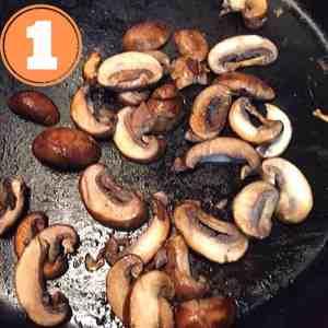 mushroom slices in skillet