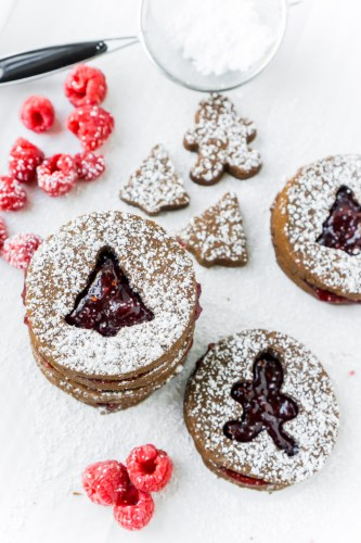 Raspberry Chocolate Linzer Cookies