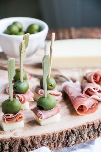 Manchego Cheese, Serrano Ham, and Castelvetrano Olives