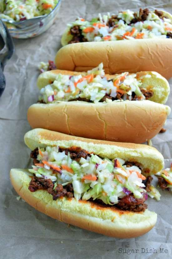 A Carolina tradition! Carolina Style Hot Dogs are covered in a beefy chili, creamy homemade cole slaw, and onions. Ketchup and mustard are optional. Serve these at your next backyard BBQ for a crowd-pleasing win!