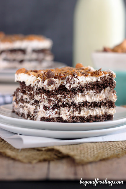 Butterfinger Icebox Cake is a no-bake dessert that comes together pretty quick.
