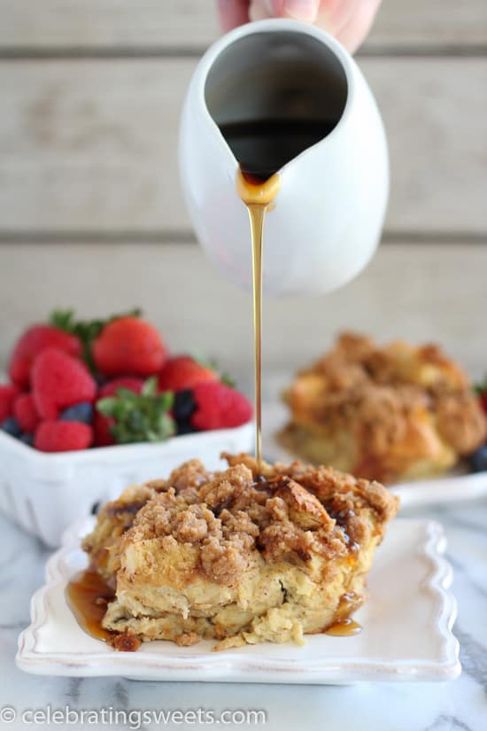 Overnight Baked French Toast Casserole spiced with cinnamon, flavored with vanilla, and topped with a brown sugar crumb topping. Prep it the night before and pop it in the oven in the morning!