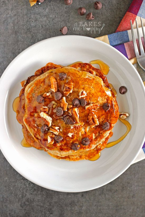 Enjoy the classic cookie in breakfast form with these Oatmeal Cookie Pancakes, loaded with oats, chocolate chips and pecans.