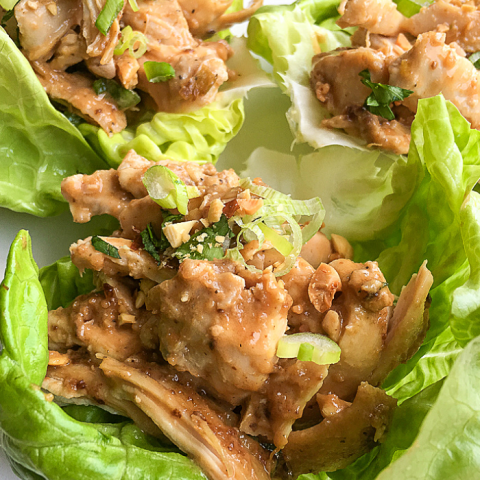 Instant Pot chicken thighs lettuce wraps
