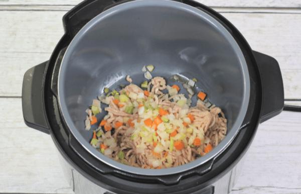 Saute meat and veggies