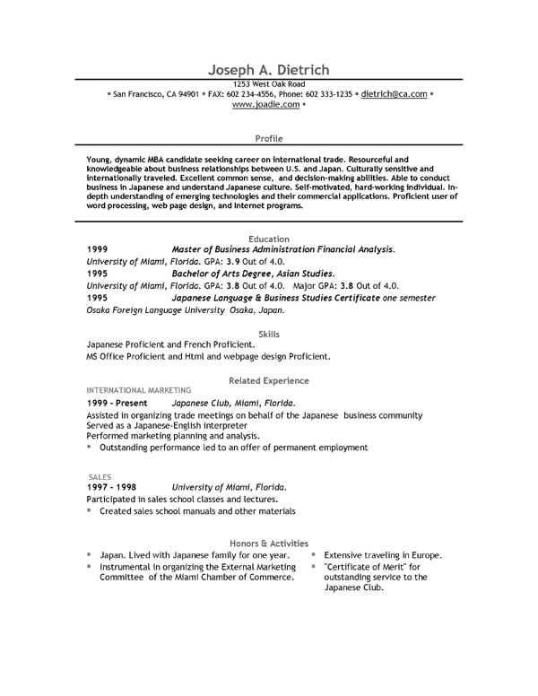 Resume teaching – Free Sample of Resume in Word Format