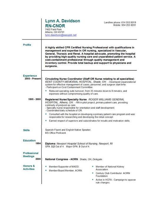 Free Nurse Resume Example director of sample free nursing resume – Free Nursing Resume