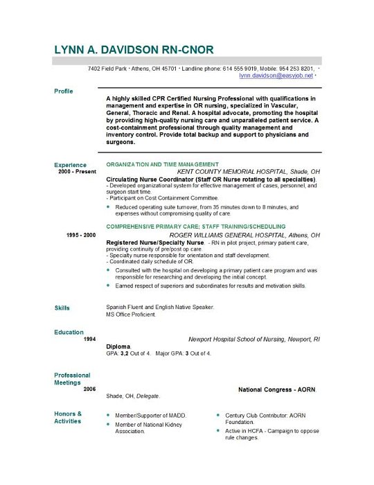 Sample Resume For Nurse  Sample Resume And Free Resume Templates