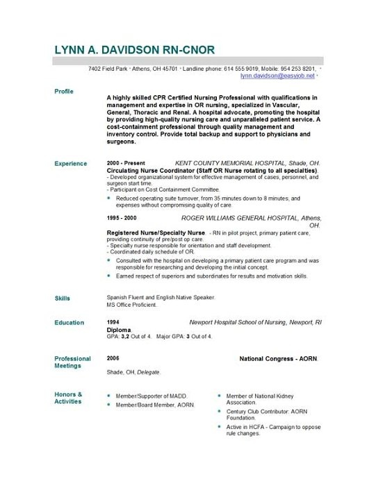 Cover Letter Sample For Nurses Resume. Resume Example Professional