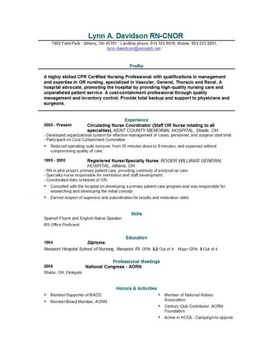 Career Profile Nurse Resume. Resume Objective Examples Nursing