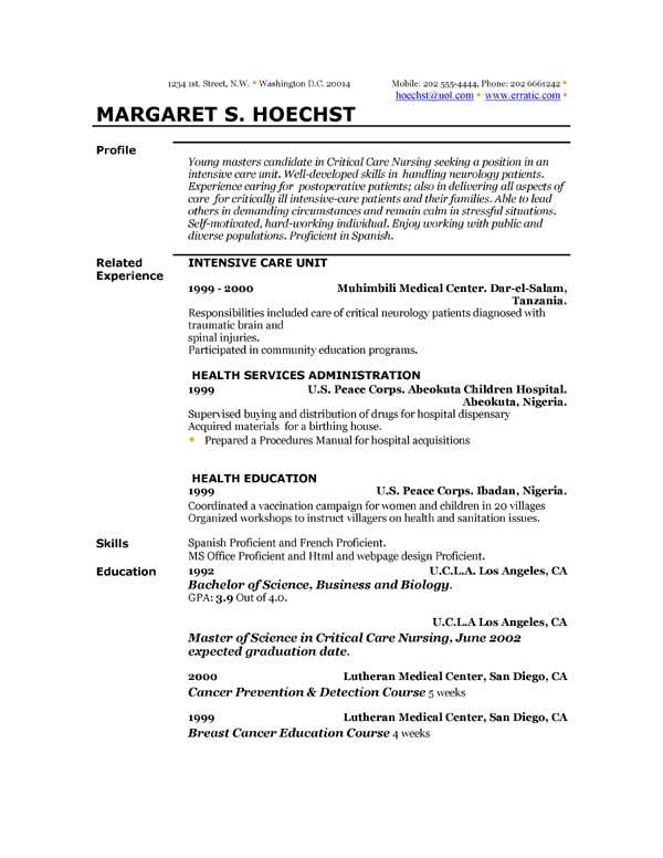 Short Resume Template. Short Resume Template Word Brief Resume