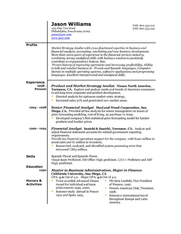 Sample Resume For Investment Banking With Focus On Financial