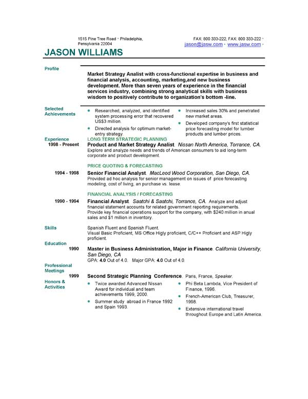Short Resume Format. Resume Examples Example Of Resume By Easyjob