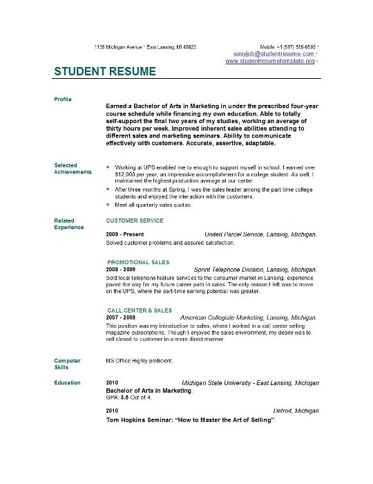 Resume Example Format For Students. Example Of Resume For Students
