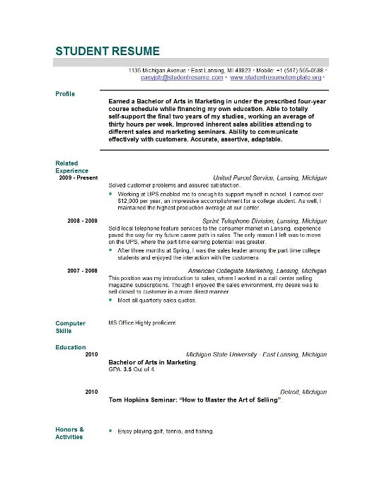High School Resume Template For College Application. High School