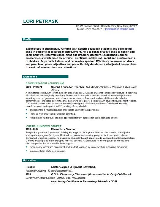 Teacher Resume Objective Examples - Template