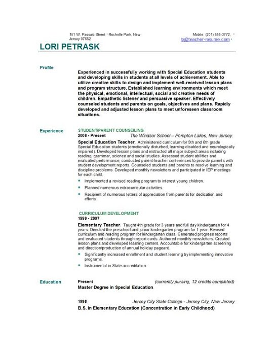 Resume Examples Objective For A Teacher Resume Teaching Resume