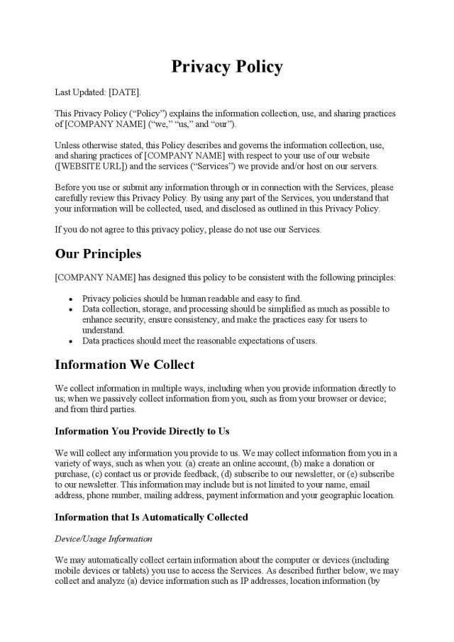 Privacy Policy Template - Free Download - Easy Legal Docs