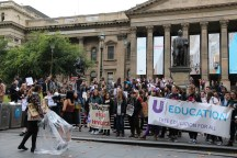 National Union of Students gather people in front of the Victoria State Library.