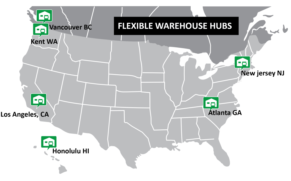 3PL warehouse and drop shipping centers location map